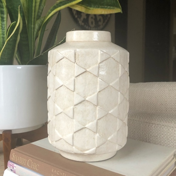 Live For Today Apothecary Jar Vase Crackle Glaze Cream Vintage Style Shabby Chic